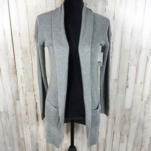 BP Long Cardigan Lightweight Rib Stitch Grey NWT S